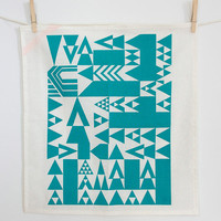 Vienna Triangles Tea Towel in Teal - Hand Printed Geometric Tea Towel