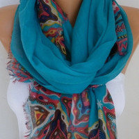 Spring Teal Cotton Scarf Shawl Summer Cowl Oversized Wrap Gift Ideas For Her Women Fashion Accessories Mother Day Gift Women Scarves