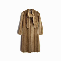 Vintage 70s Long Faux Fur Coat / Tan Brown Fur Coat / Tie Neck Coat / Winter Wedding Coat - women's small/medium