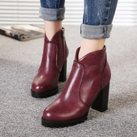 Boots 2015 new big wind Fan Yinglun fashion boots Martin boots with non-slip thick high-heeled boots new winter = 1753572356