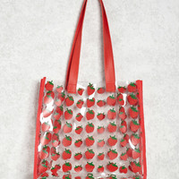Strawberry Print Clear Tote Bag