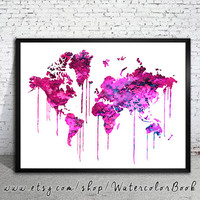 Purple WATERCOLOR MAP, World Map, Watercolor Painting, Watercolor poster, Handmade poster, home decor, Map art, watercolor painting,