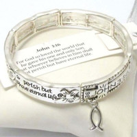 Inspirational Engraved John 3:16 Charm Accented Silver Stretch Bracelet