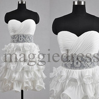 Custom White Beaded Tiered Short Prom Dresess Bridesmaid Dresses 2014 Evening Gowns Party Dresess Homecoming Dresses Cocktail Dresses