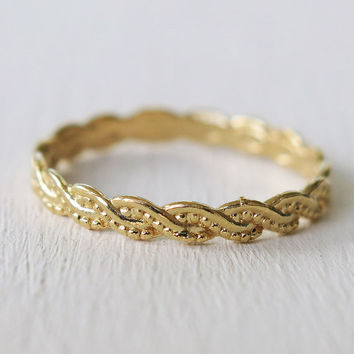 gold ring, band ring,twisted gold ring, thin gold ring, stacking ring, skinny band ring, thin twisted ring, rope ring