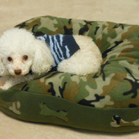 Soft Small Camo Fleece Dog Bed, Oval pillow stuffed with fluff for your pets comfort