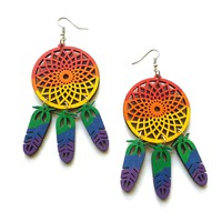 Hand painted rainbow dreamcatcher wood earrings