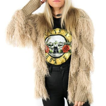 Run This Town Taupe Shaggy Cardigan