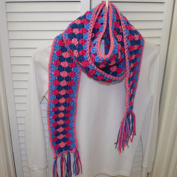 Crochet scarf blue and pink with fringe fall accessory autumn fashion winter wrap women's fashion scarf season unique gift present for her