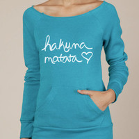 Hakuna Matata Eco Fleece Raw Edge Boat Neck Sweatshirt