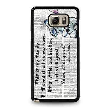 lilo and stitch quotes disney samsung galaxy note 5 case cover  number 1