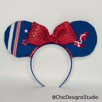 Sailor Minnie Inspired Ears Headband, Minnie Ears, Mickey Ears, Embellished Mickey Ears, Disney Cruise Ears