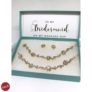 Rose Gold Floral Crystal Bridal Jewelry Set