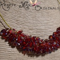 The Glow of Red - Glass Beads Necklace Set Krafty Max Original Design