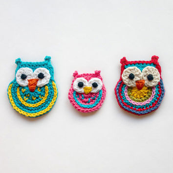 Big Owl Small Owl and Colorful Owl Applique / by oneandtwocompany