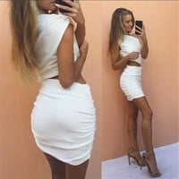 2 Piece Set  Womens Dress one shoulder White mini dress Bodycon Party Dress Night Club Wear Outfits vestidos