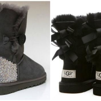 Swarovski Crystal Embellished Bailey Bow Uggs in Black