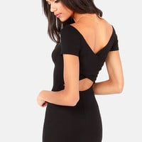 Show Off-the-Shoulder Cutout Black Dress