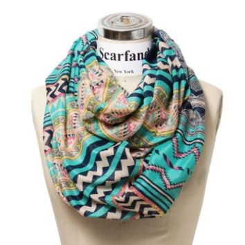 Scarfand's Mixed Infinity Brick Scarf (Chevron Mint)