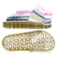 Amar03 Gold Pvc By Wild Diva, Clear Jelly Flatform Sandal, Lucite Transparent w Glitter Footbed Slipper