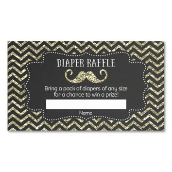 Mustache Baby Shower Diaper Raffle Tickets Double-Sided Standard Business Cards (Pack Of 100)