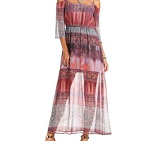 COLD SHOULDER CHIFFON MAXI DRESS
