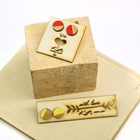 Wooden studs handpainted jewelry Natural wooden yellow earrings everyday jewelry Light and small wooden earrings