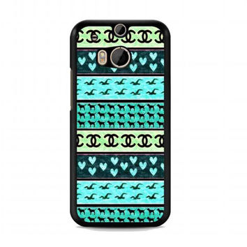 red hollister seagulls chanel sign hearts stripes For HTC One M8 case