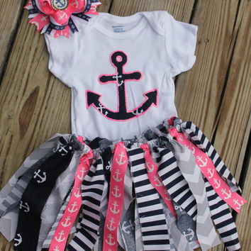 1st birthday outfit girl,pink nautical, pink anchor, nautical birthday, anchor birthday, nautical party, navy outfit, smash cake outfit
