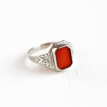 Sale - Vintage 10k White Gold Carnelian Ring - Antique Belais Size 6 3/4 Art Deco 1930s Dark Red Gemstone Fine Filigree Embossed Jewelry