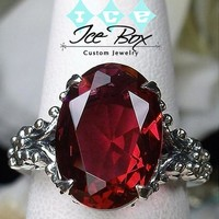 Ruby Engagement Ring 6ct, 12x10 Oval Cultured Pigeon Blood Ruby