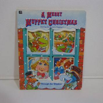A Merry Muppet Christmas Children's Through the Window Vintage Board Book from 1993 Jim Henson Productions, Gifts Under 10