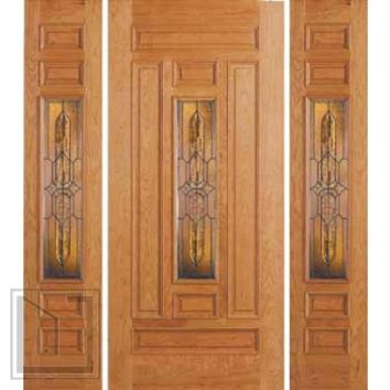 jeld-wen 302 Cherry Door and Sidelights Clear Finish T Glass