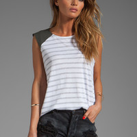 Michael Stars Perforated Leather Hi-Low Muscle Tank With Leather Shoulders in Heather Grey from REVOLVEclothing.com