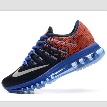 """NIKE"" Trending Fashion Casual Sports Shoes AirMax Toe Cap hook section knited Orange black white hook blue soles"