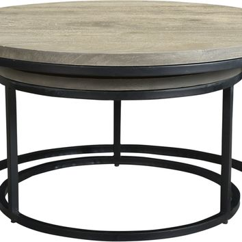 Drey Round Nesting Coffee Tables Set Of 2 Industrial Grey