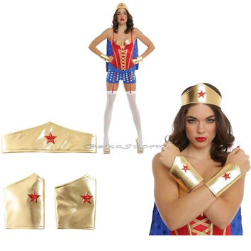Licensed cool WONDER WOMAN ADULT Gold Crown Headpiece Tiara w/star & Arm Gauntlets Cuffs NWT