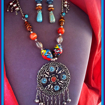 Turquoise Coral Silver African Pendant with African Trade Glass Beads & Earrings Ethnic Bells  Multicolor African Inlay Ethnic Long Necklace