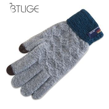 BTLIGE Fashion Winter Men Cashmere Gloves Casual Touch Screen Warm Knitted Patchwork Mittens Jacquard Solid Driving Gloves