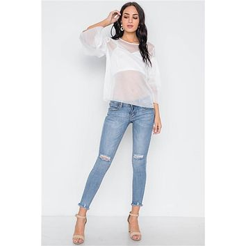 Free Flare Mesh Bell Sleeve Top