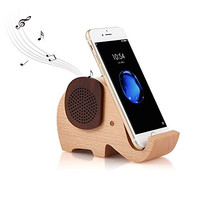 Elephant Shape Multifunctional Wooden Wireless Bluetooth Speaker with Mobile Phone Stand Holder