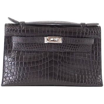 Hermes Kelly Pochette Clutch Bag Matte Black Crocodile Palladium