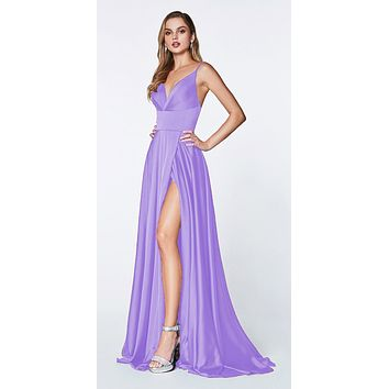 3ab6530af90 Floor Length Spaghetti Strap Lavender Prom Dress V Neck