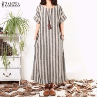 ZANZEA Striped Print Maxi Loose Short Sleeve