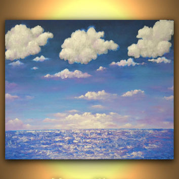 Blue lavender seascape abstract acrylic painting sunset white clouds artwork unique present wedding gift wall art for a newlywed's house