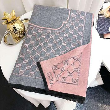 GUCCI Women Autumn And Winter New Fashion More Letter Print Double-Sided Color Warm Scarf Gray