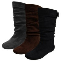 Journee Collection Womens Regular Sized and Wide-Calf Slouch Mid-Calf Microsuede Boot