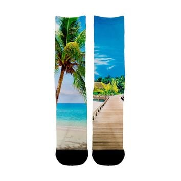 Beach Palm Tree Socks