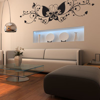 Vinyl Wall Decal Sticker Butterfly Vines #1050