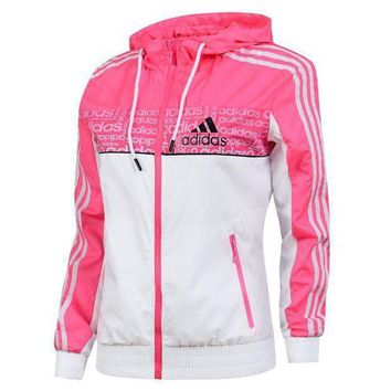 PEAPNQ2 Adidas Women Fashion Zip Cardigan Jacket Coat Sweatshirt Windbreaker4